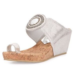 Donald J. Pliner Gaya Toe-Ring Wedge Sandal Silver